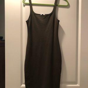 Hunter green tight fitting knee length dress